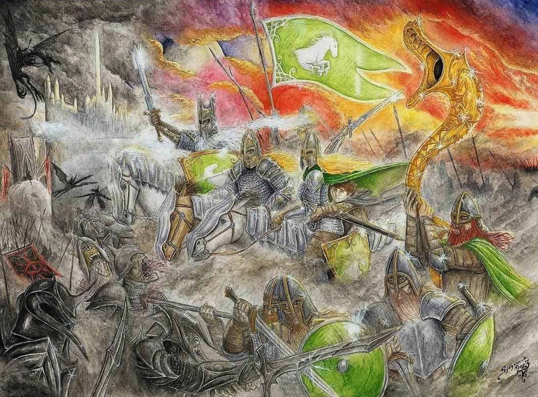 ¿En qué batalla cayeron Denethor, Theoden y el Rey Brujo de Angmar?
