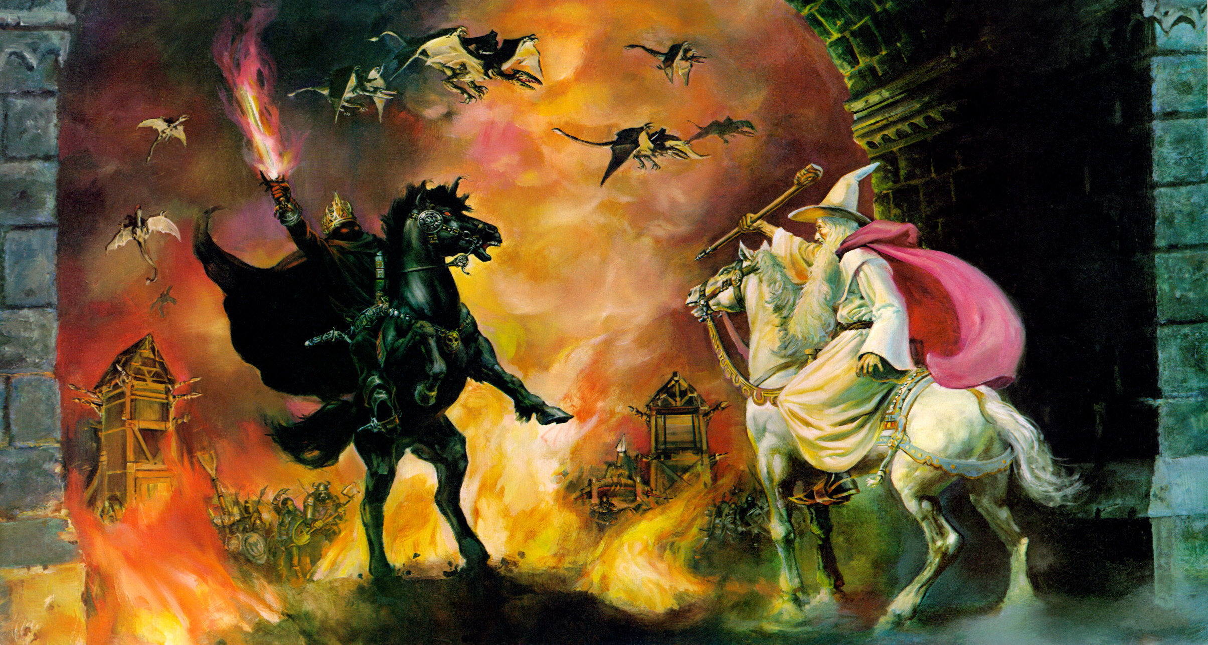 En su enfrentamiento en la puerta, el Rey Brujo se marcha al oir los cuernos de Rohan. ¿Por qué Gandalf no lo persigue?