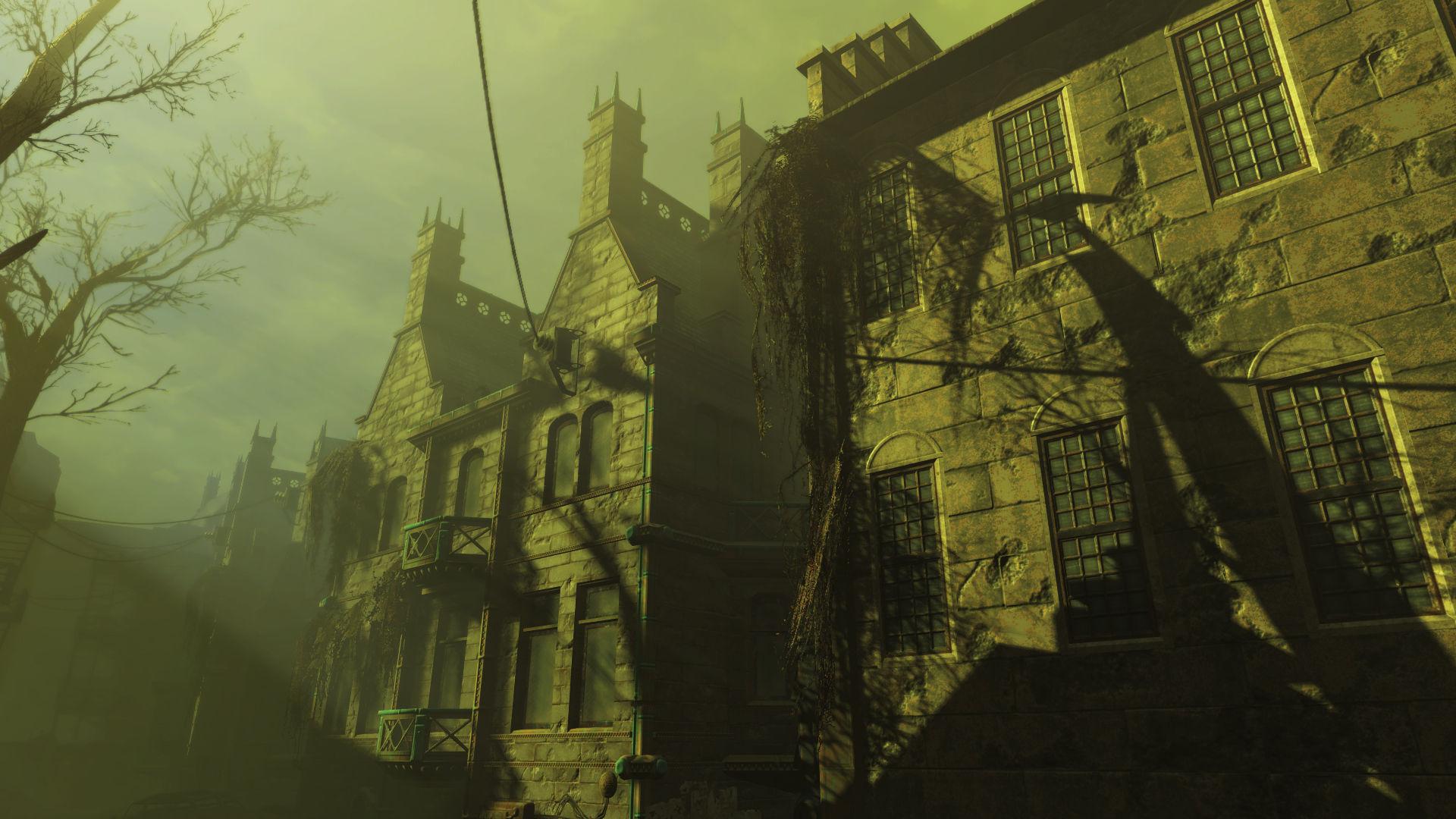 El cielo se torna verde, y unos estruendos horribles suenan por todo el cielo, hay una mansión y la tormenta de radiación crece.