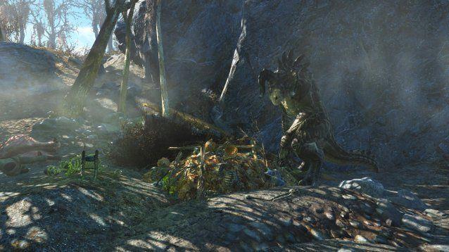 Has encontrado el nido de unos Deathclaw, en el nido ves que hay varios cuerpos a medio devorar, pero con los bolsillos llenos.