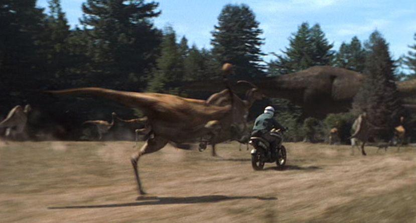 ¿Qué especie de dinosaurio no aparece en la escena de la cacería de El Mundo Perdido?