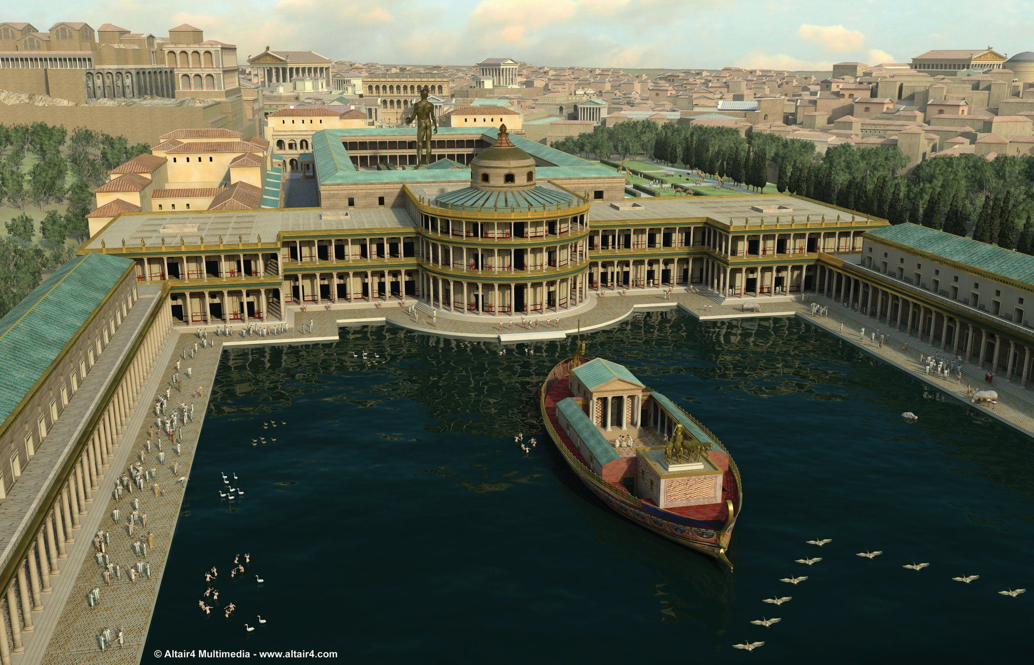 Tras la muerte de Nerón (68 d.C.) ¿A qué se destinan durante la dinastía Flavia los terrenos de su residencia, la Domus Aurea?