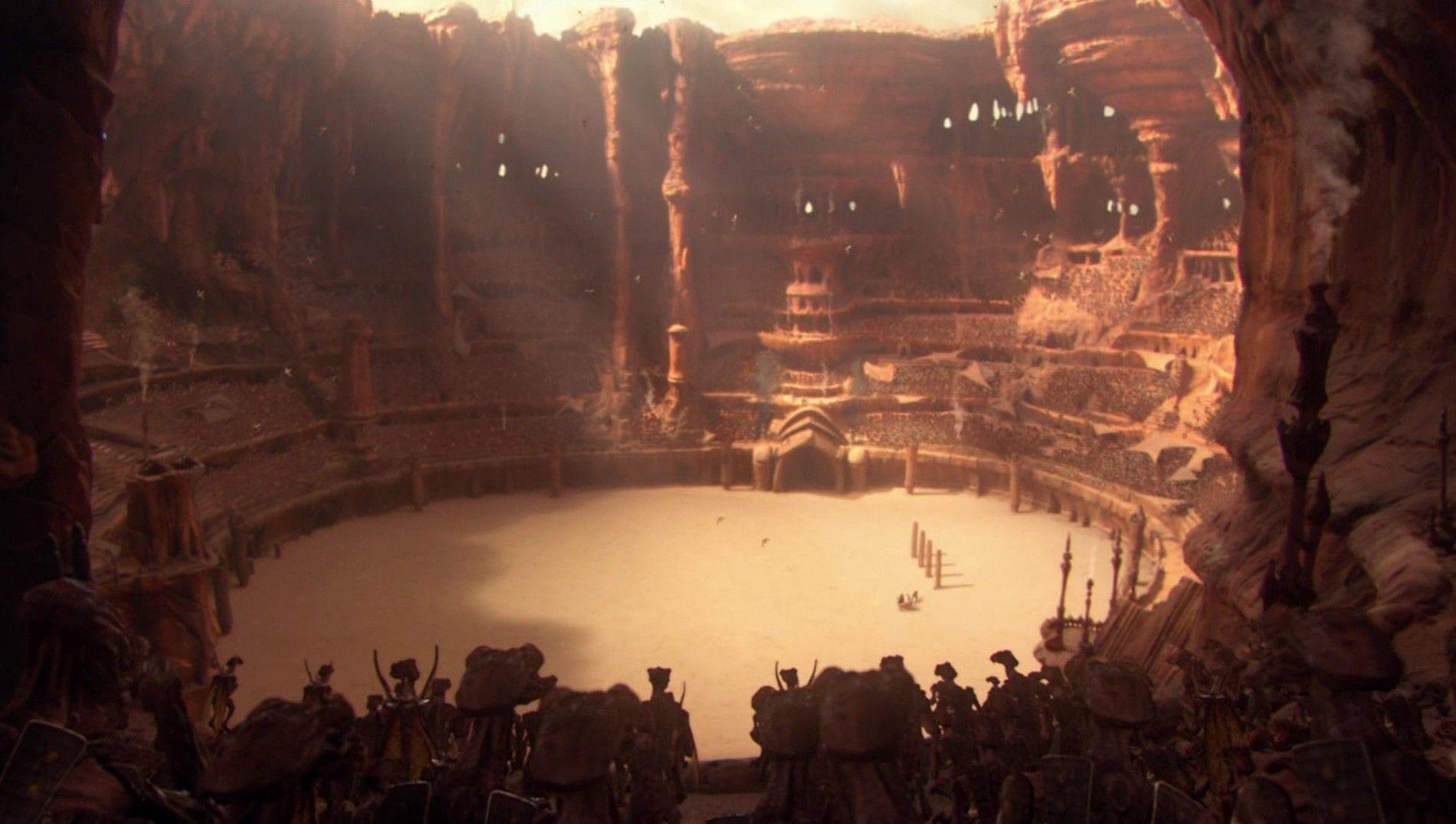 ¿Que animales podíamos ver en la famosa escena de la arena de Geonosis?