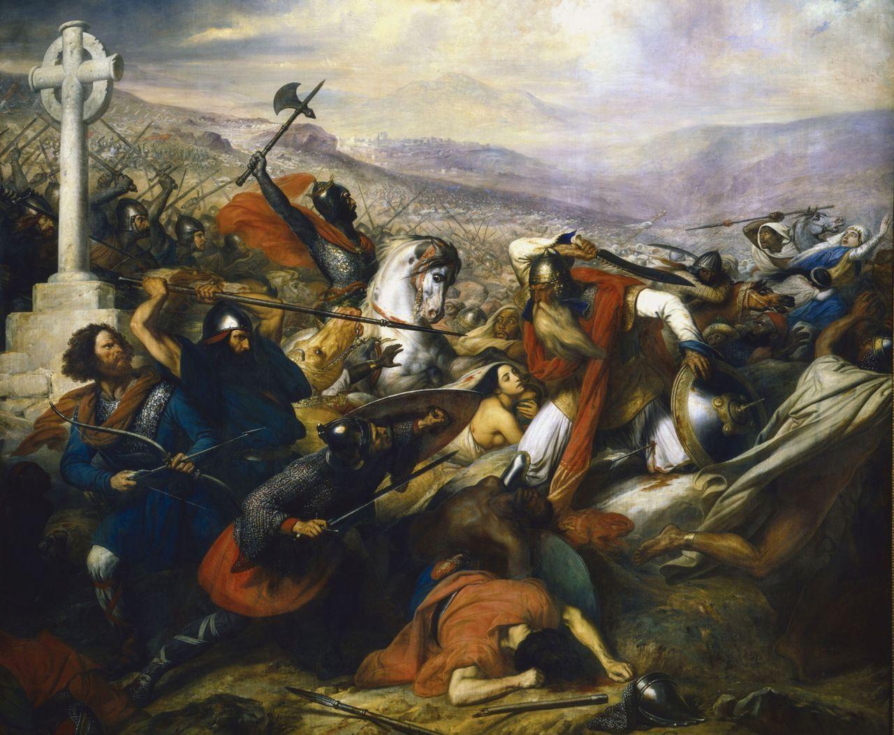 Una gran batalla se libró en el 732 D.C. Enfrentó a los francos (vencedores) y al Califato Omeya. ¿Cómo se llama la batalla?