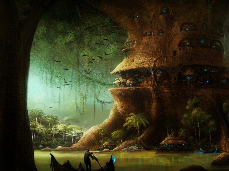 Encontráis una ciudad construida sobre las ramas de un enorme árbol que esta conectadas con puentes colgantes