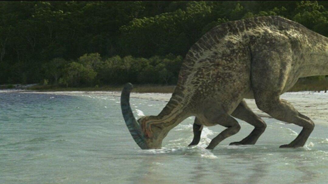 Ibas a acercarte pero ves un dinosaurio solo bebiendo cerca de la desembocadura. ¿Qué deberías hacer?