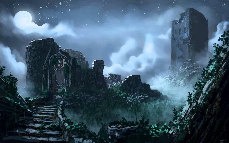 La mañana siguiente no recordáis nada. Por la tarde llegáis a las ruinas de un castillo (tenebroso y oscuro).