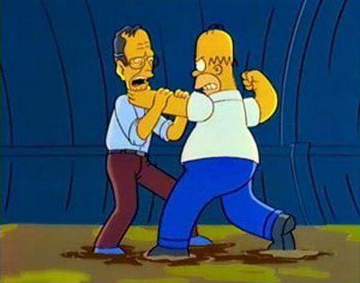 ¿Porqué Homer se pega con George Bush en el episodio