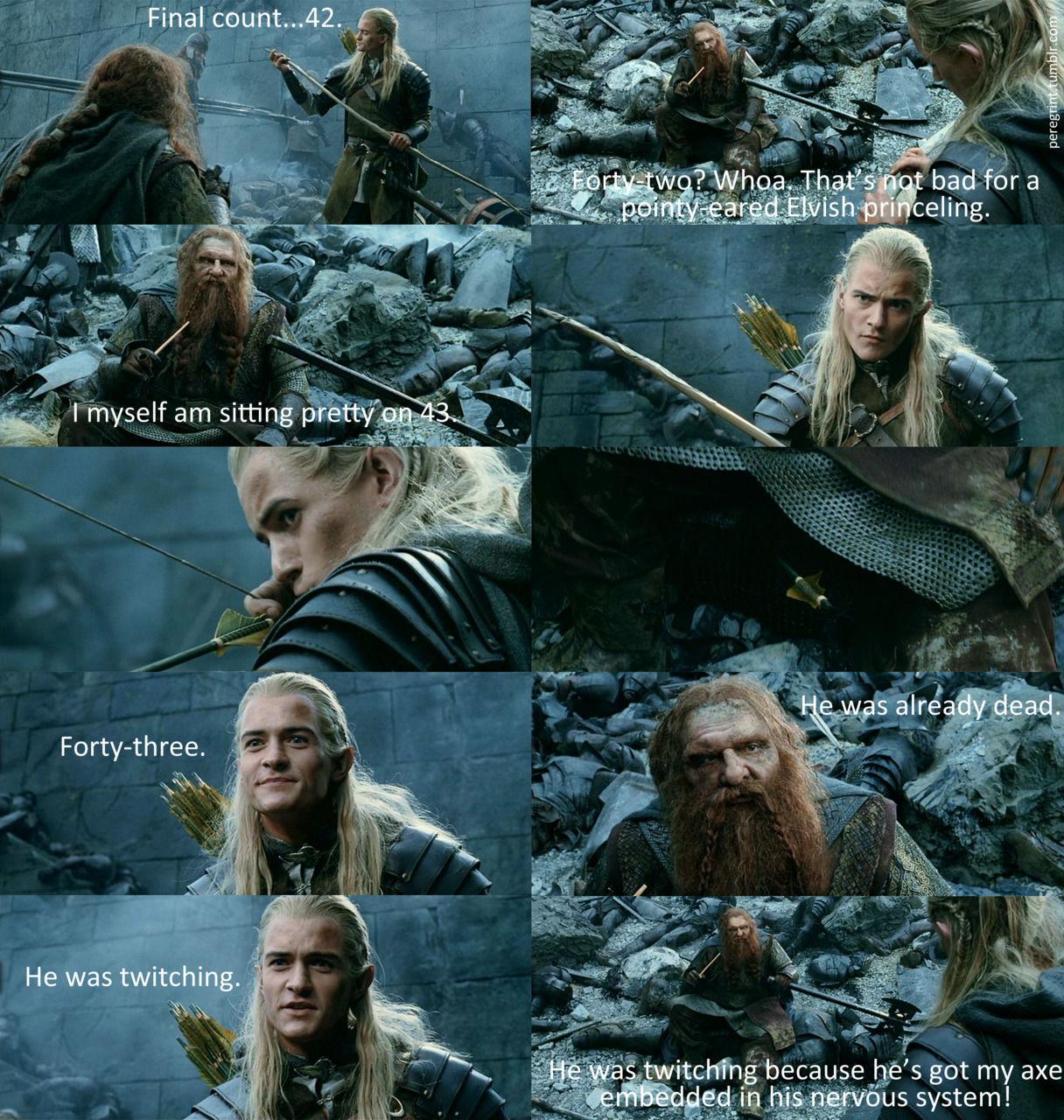 (Versión extendida) ¿Qué hubiera pasado si Legolas hubiera ganado en cantidad de asesinatos a Gimli en el Abismo de Helm?