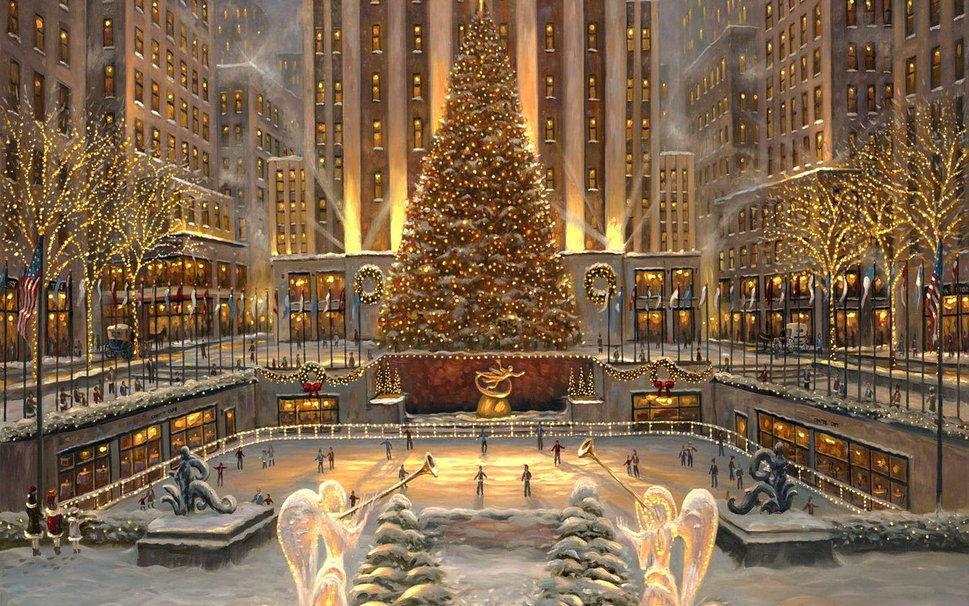 El famoso árbol de navidad de Nueva York, se instala todos los años en la plaza de este conjunto arquitectónico