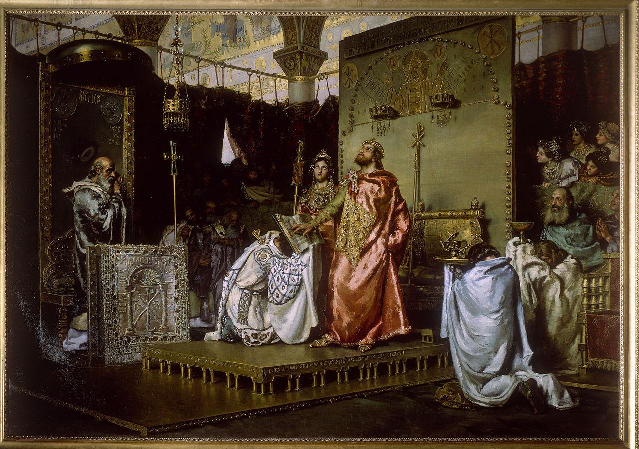 ¿Qué rey visigodo se convirtió del arrianismo al catolicismo  y estableció esta última como religión oficial?