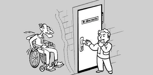 El viejo señor Abernathy ha vuelto a encerrarse en las dependencias y se te ordena que lo saques. ¿Cómo procedes?