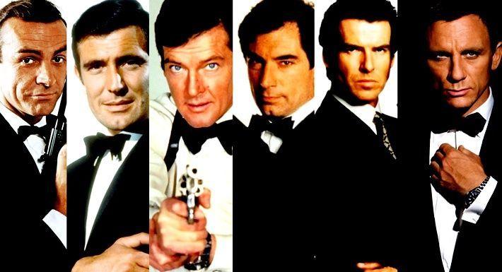 ¿Qué actores han interpretado a James Bond en sus  películas oficiales (En orden)?