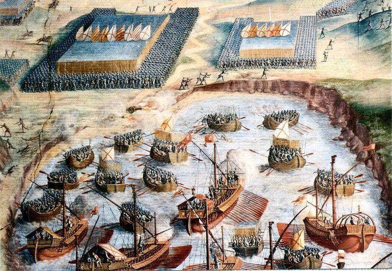 ¿Qué batalla naval fue la primera en librarse en mar abierto?