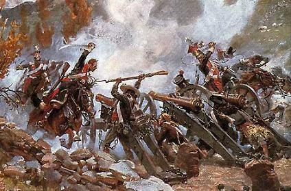 ¿En qué obra el compositor utilizó disparos de cañón para describir una batalla?