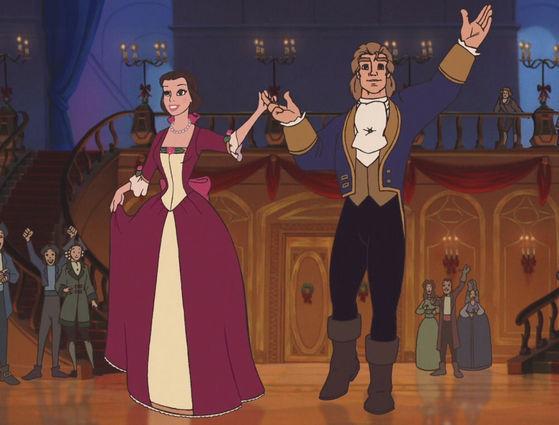 En La Bella y la Bestia 2, Al final ¿Qué regala bestia (ya humano) a Bella en la terraza?