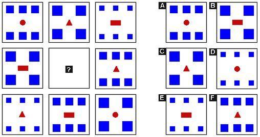¿Qué figura de las opciones a la izquierda encaja en el cuadrado central?