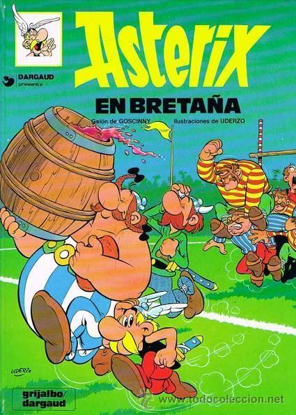 ¿En el cómic de Asterix en Bretaña, qué signo distintivo porta el barril de la poción mágica?