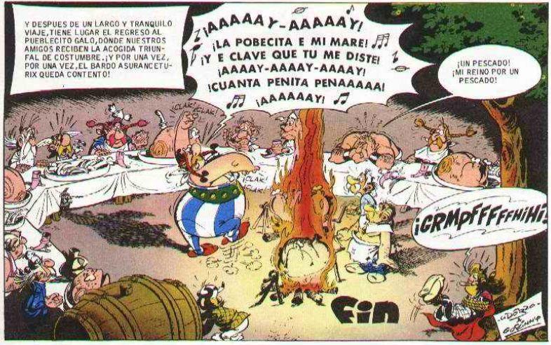 En el cómic Asterix y Obleix en Hispania , ¿cómo se llama al niño que han de transportar de vuelta a su tierra?