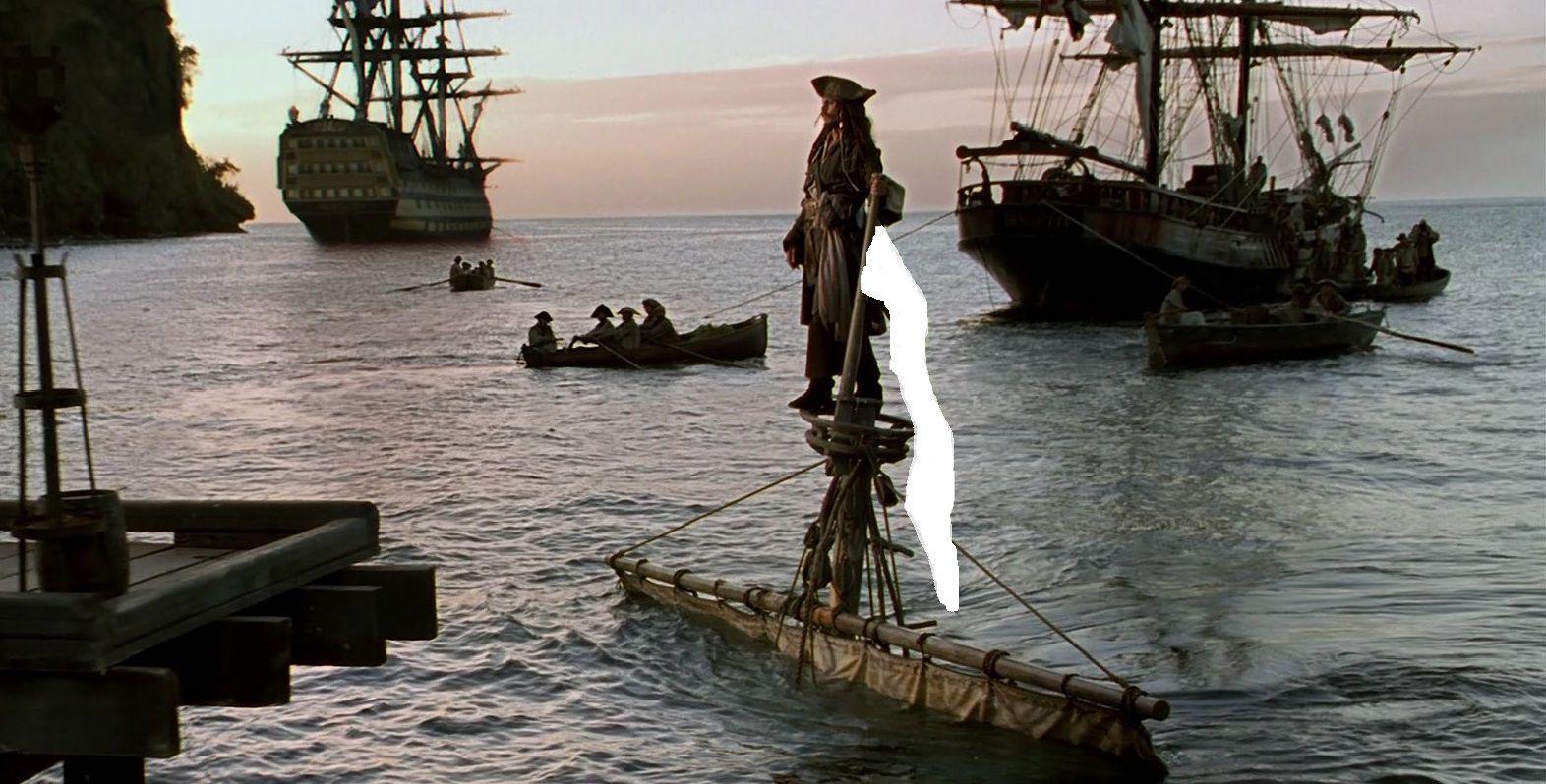 La primera escena donde sale Jack Sparrow es memorable pero, ¿de qué color es la bandera del bote?