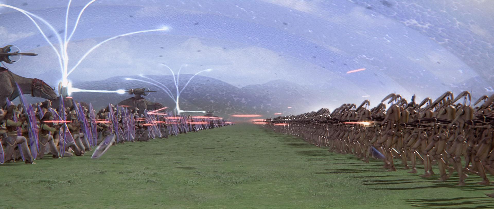 Al final de la Invasión de Naboo (32 ABY) hay una batalla entre los droides y los gungan. ¿Cómo se llama esa batalla?