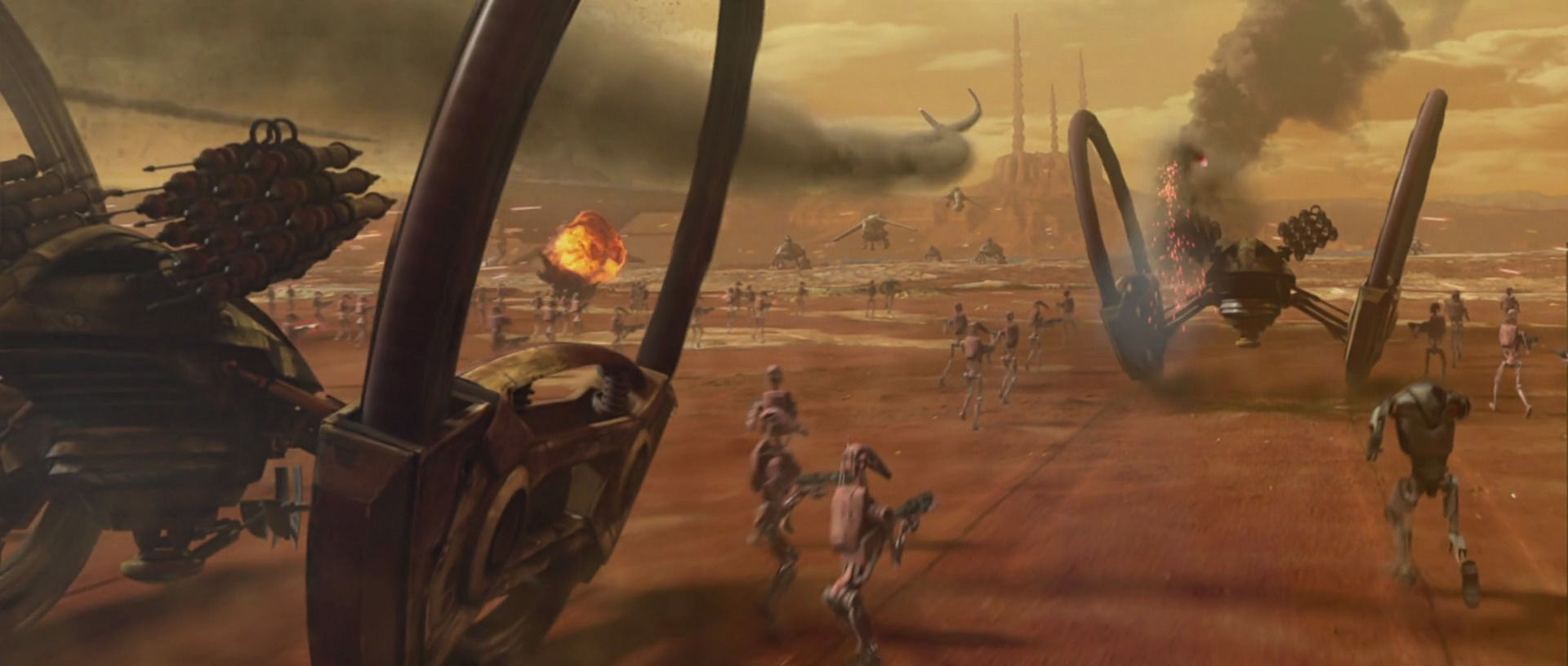 Durante de Batalla de Geonosis luchan muchos droides, clones y jedi. ¿Qué nave/tanque no participa?
