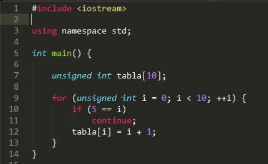 ¿Qué función tiene la declaración 'continue' en el siguiente bucle?