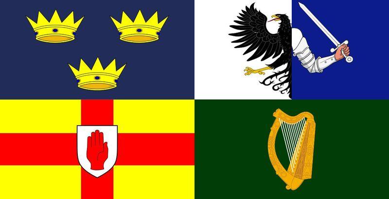 La isla de Irlanda está dividida en 4 provincias históricas: Leinster, Munster, Ulster, y... ¿cuál es la que falta?
