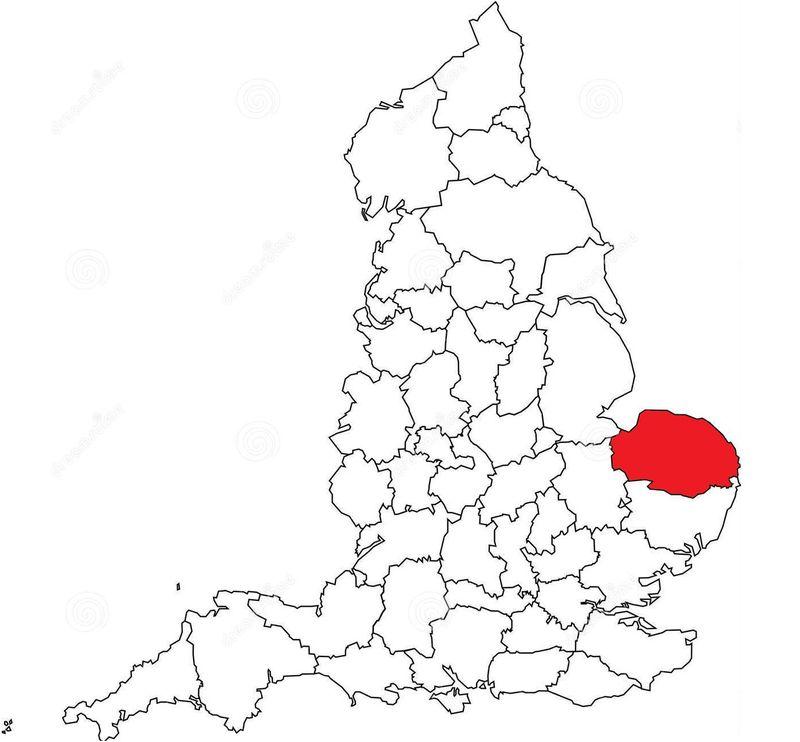 No nos movemos aún de las islas británicas. ¿Podrías decir qué condado inglés aparece pintado de rojo en el siguiente mapa?