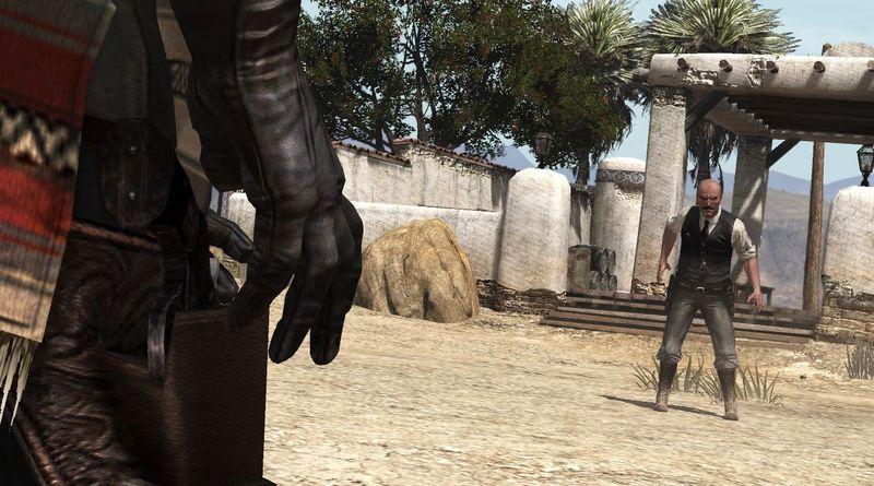Los militares arrastran a los bandidos lejos. De repente el comisario recibe un tiro en estómago y un bandido te reta un duelo