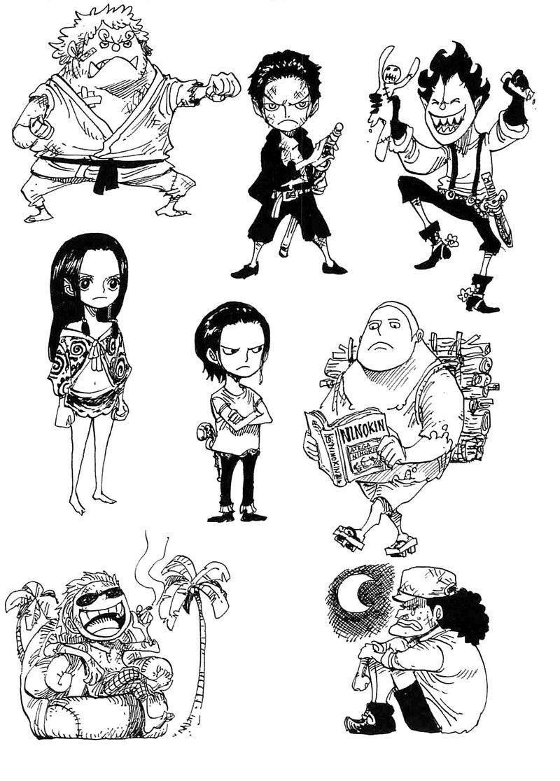 Más difícil. Oda dibujó a los Shichibukais con sus géneros cambiados y de niños en dos volumes diferentes ¿ cuáles fueron?