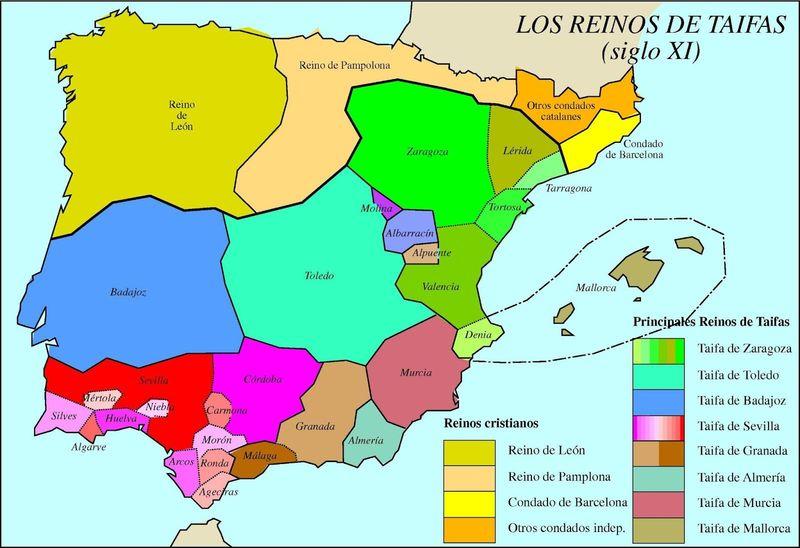 ¿En qué año se dividió el califato de Al-Andalus en 25 reinos de taifas?