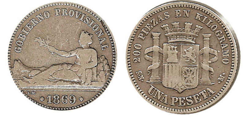 ¿En qué año la peseta se conviritó en moneda oficial?