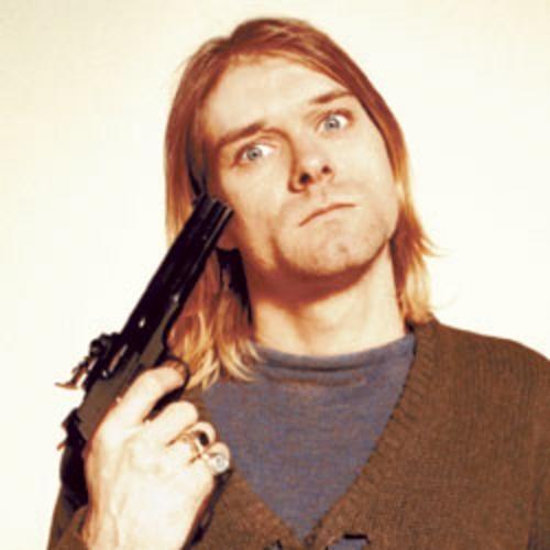 ¿En qué tema aparece colgado de una lámpara Cobain?