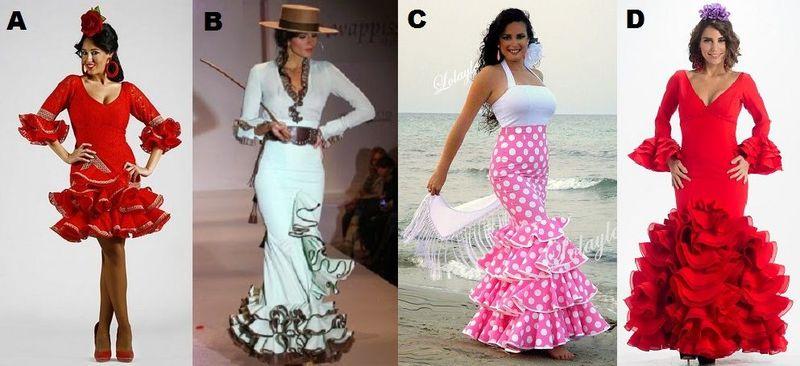 ¿De las siguientes fotos, cuál o cuales son trajes de flamenca?
