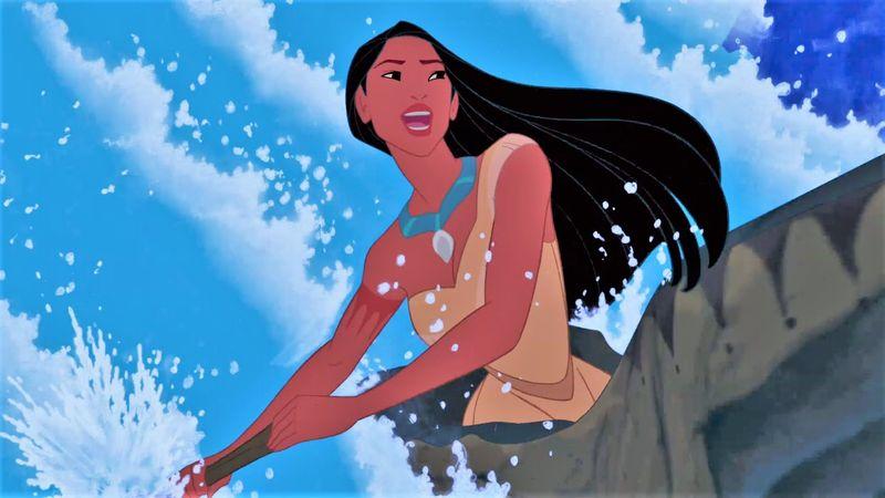 En Pocahontas, ¿cuál es el río que ella elige cuando va en la canoa?