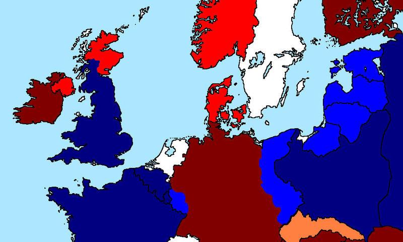 Gracias a independentistas Escoceses e Irlanda estas invadiendo el Reino Unido. Francia y la URSS empiezan su conquista