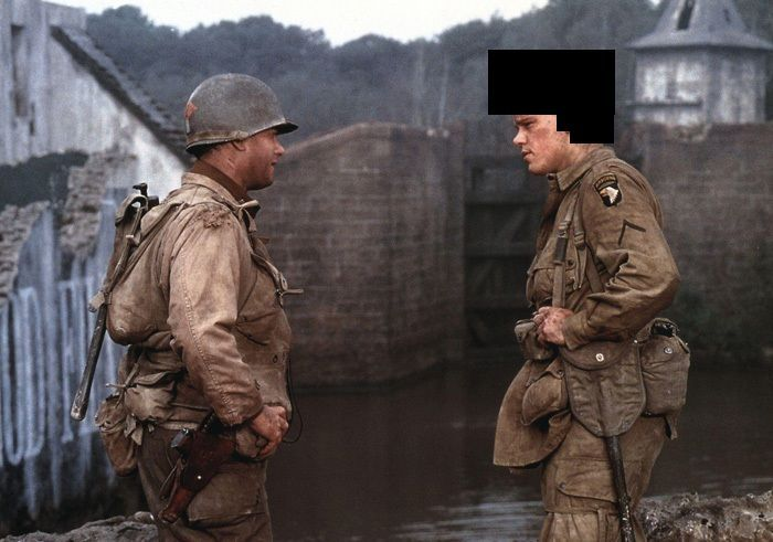 ¿Qué lleva en la cabeza Ryan en Salvar al soldado Ryan?