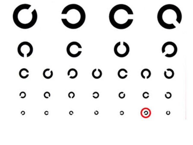¿Para qué lado mira la apertura de la C negra en el círculo rojo?