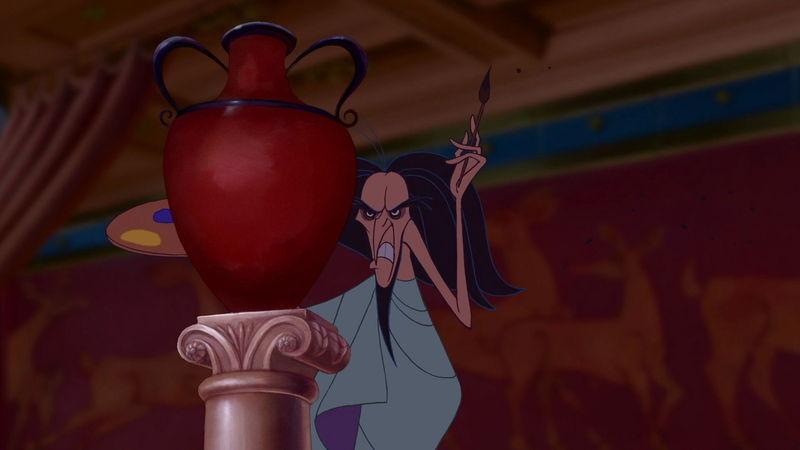 ¿Con qué famoso personaje de otra película se viste Hércules cuando posa para una pintura siendo famoso?