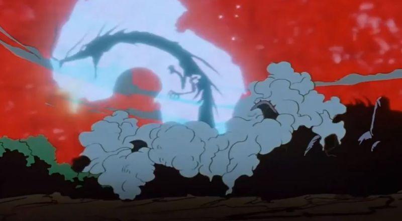Hiei utiliza un ataque llamado ''Dragón de la Llama de la Oscuridad'' o ''Dragón de Llamas negras''. ¿Con qué brazo lo utiliza?
