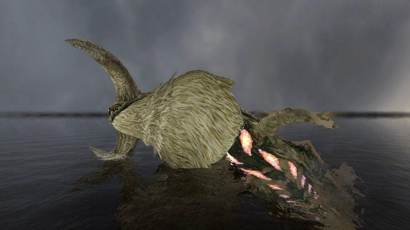 De la profundidades del lago aparece un enorme monstruo.