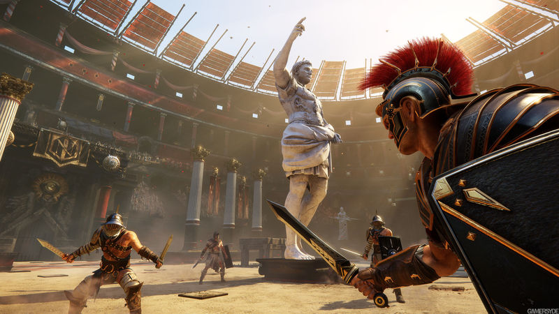 Día de descanso en el coliseo. Tras un largo combate, un fallo acaba haciendo morder el polvo a uno de los gladiadores.