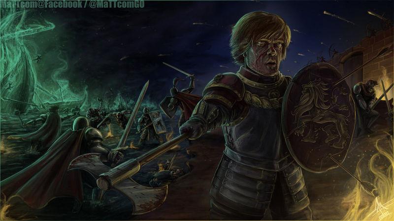En la memorable batalla del Aguasnegras, ¿qué le ocurre a Tyrion?