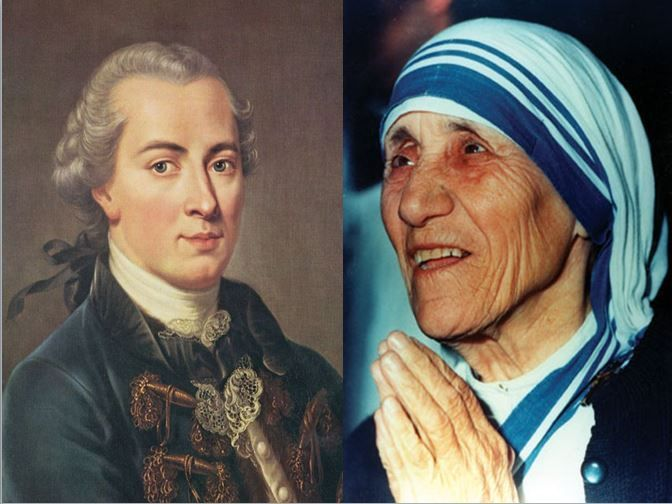 Immanuel Kant, filósofo inscrito en el criticismo vs Madre Teresa de Calcuta, monja fundadora de las Misioneras de la Caridad