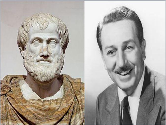 Aristóteles, filósofo de la Grecia clásica vs Walt Disney, fundador de la famosa productora de películas de animación