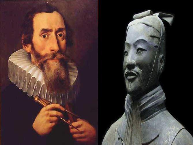 Johannes Kepler, astrónomo alemán que planteó el movimiento elípitco de la tierra vs Sun Tzu, filósofo y estratega militar chino