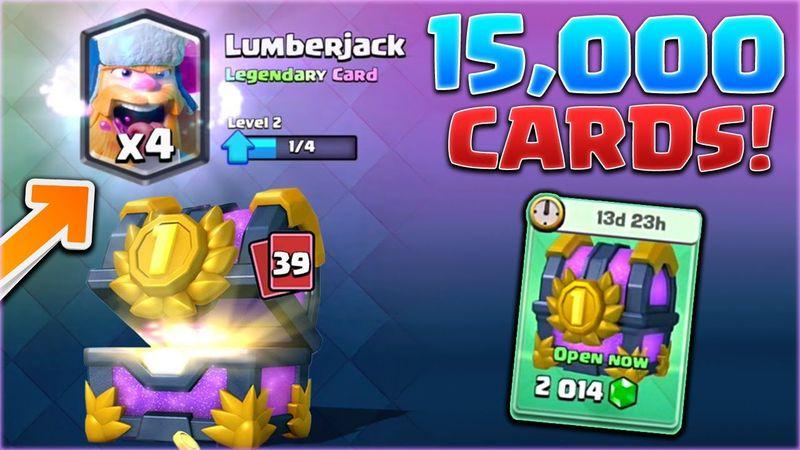 ¿Cuántas cartas Legendarias salen en un cofre de 15.000 Cartas?