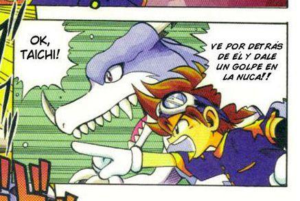 ¿Con qué digimon aparece luchando Zero, en la primera página del primer capítulo de digimon V-Tamer?