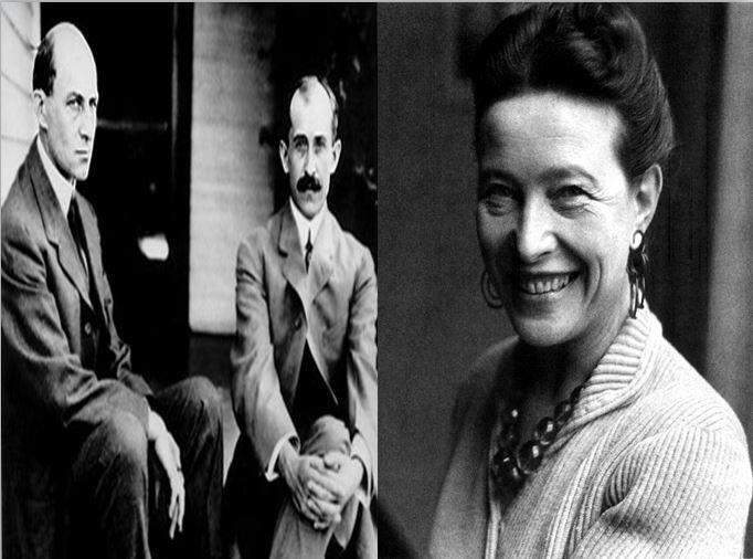 Los hermanos Willbur y Orvill Wright, padres del aeroplano vs Simone de Beauvoir, la filósofa francesa defensora de las mujeres
